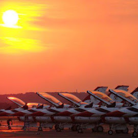 Thunderbirds Sunset by Michael Hudgens - Novices Only Sports ( flying, flight, f-16, air force, sunset, pilot, falcon, arkansas, airshow, thunderbirds,  )