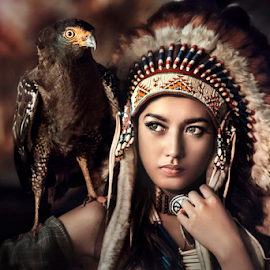Dini with Eagle by Ivan Lee - People Portraits of Women ( canon, model, eagle, girl, beauty )