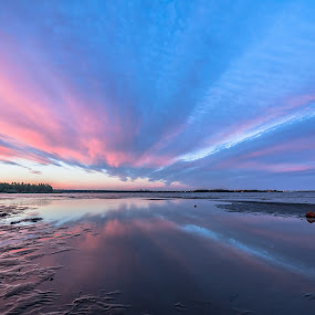 Sunset river by Benny Høynes - Landscapes Sunsets & Sunrises ( clouds, sweden, sky, sunset, colours, river )