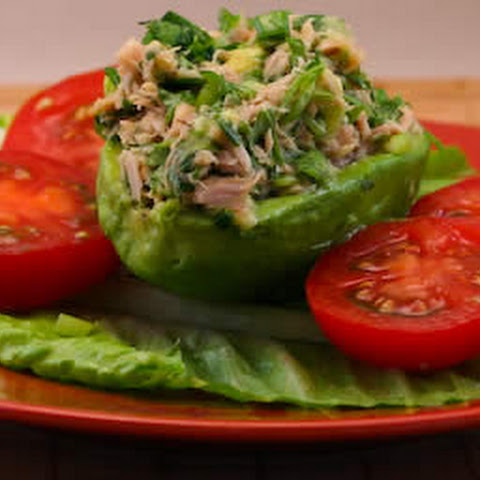 Tuna Stuffed Avocado Salad with Tomatoes, Cilantro, and Lime