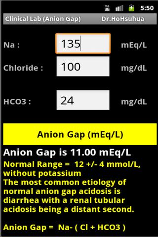 Clinical Lab Anion Gap