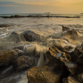 Rocks & Wave by CK NG - Landscapes Beaches ( sunset, wave, rock, beach, rocks & wave )