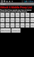 Screenshot of Unblock It Mobile Proxy List