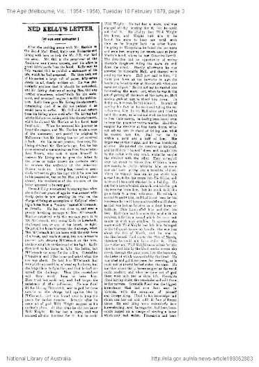 Click here to read the full transcript of Edwin Living's account of the Jerilderie Letter in The Age 1879.