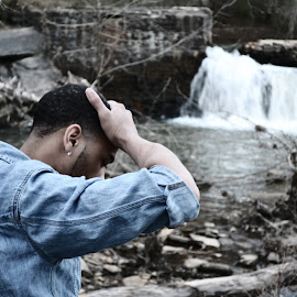 Waterfall by Sharpshooter Photos - People Portraits of Men ( #woods #man #denim #water #fall #forest )