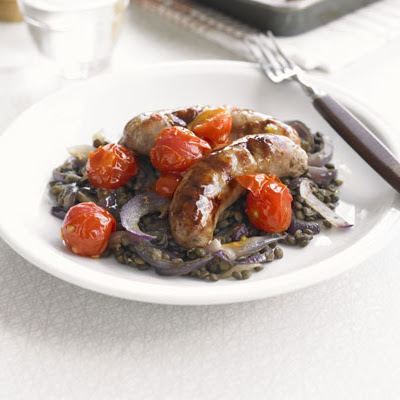 Saucy Roast Sausages With Lentils