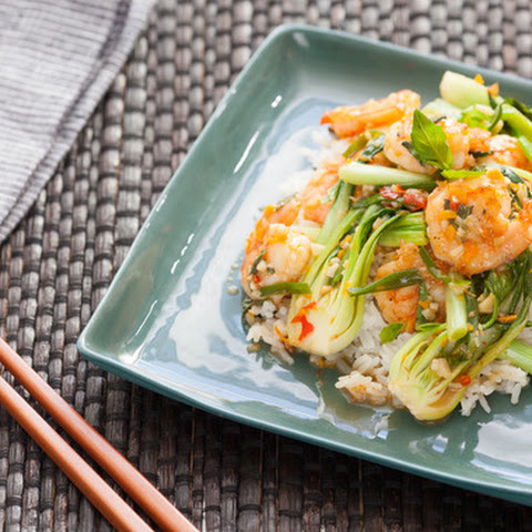 Pan-Fried Orange Shrimp with Sautéed Scallions & Bok Choy over ...
