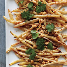 Roasted Wax Beans with Peanuts and Cilantro