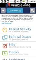 Screenshot of Visible Vote Mobile