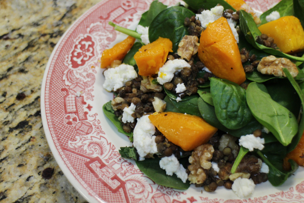 ... goat cheese salad spicy squash salad with lentils and goat cheese