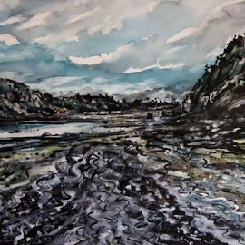 Low tide by Michael Munday - Painting All Painting