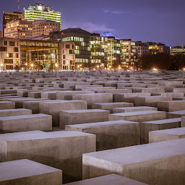 monument to murdered jews by Jeff Epp - Buildings & Architecture Statues & Monuments ( world war, remember, murder, jewish, cityscape, street photography, nightscape, city scape, world war ii, night photography, outdoor, city lights, night, monument, germany, grey, berlin, night shot, jews )