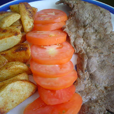 Mustard Steak with Browned Potatoes