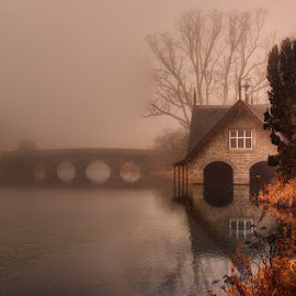 A foggy Morning at the Boathouse  by Willie Forde - Buildings & Architecture Other Exteriors ( foggy, ireland, fog, boathouse, lake, kildare )