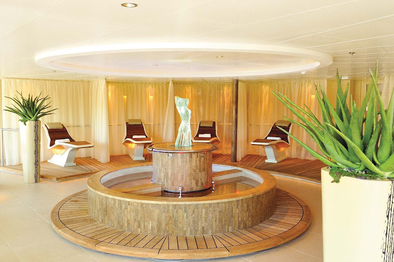 Try the Kneipp Walk in the Spa at Seabourn, a soothing water therapy system with alternating baths of cold and warm water.
