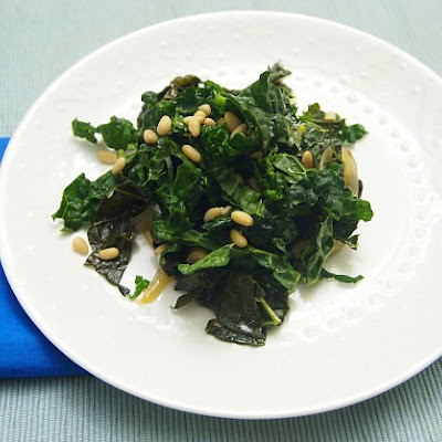 Braised and Raw Kale with Pine Nuts