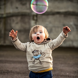 Chasing Bubble by Martin Janowski - Babies & Children Toddlers ( child, chasing, play, bubbles, fun, baby, running, kid )