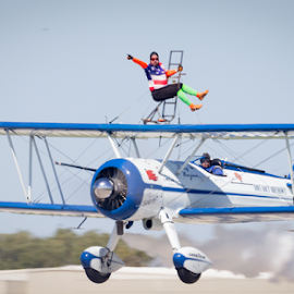Forward! by Mike Trahan - Transportation Airplanes ( dacy, 2014, airplane, waukegan air show, wing walker, transportation )