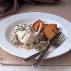 Poached Chicken Breasts with Morel Mushrooms, Cream and Parsley