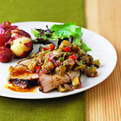 Roast Pork Tenderloin with Spicy Apple-Green Chile Salsa