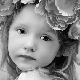 Beauty With Flower Halo B & W by Cheryl Korotky - Babies & Children Child Portraits (  )