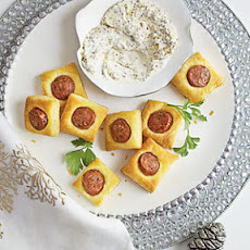 Chicken Sausage Puffs with Creamy Mustard Dipping Sauce