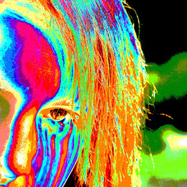 Sarah S by Mark Silvani - Digital Art Abstract ( abstract, girl, woman, fear, tears )