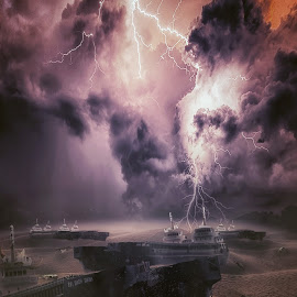 Bermuda by Karazy Shooke - Digital Art Places ( lightning, desert, died, ship, skeleton, bermuda, place )