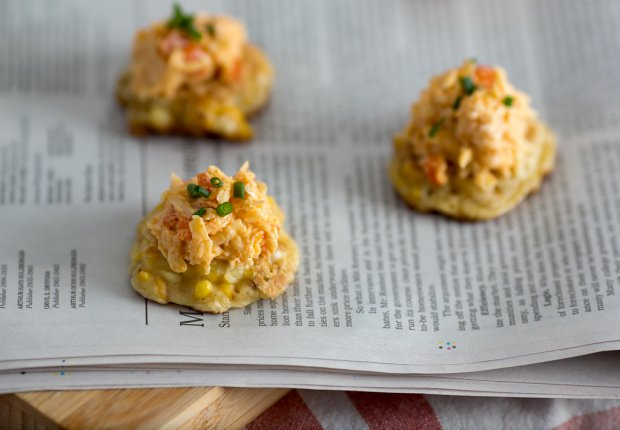 Grilled Corn Fritters With Jarlsberg Pimento Cheese Recipe | Yummly