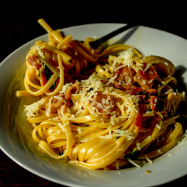 Pasta Carbonara by Clark - Worthington - Food & Drink Plated Food ( plated, eggs, bacon, delicious, pasta, sauce )