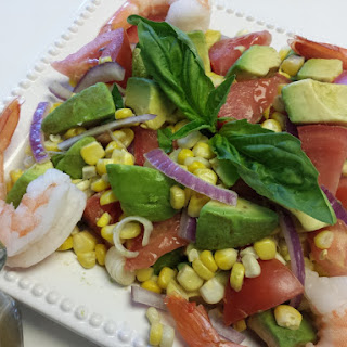 Avocado, Tomato, Corn and Shrimp Salad with Basil Vinaigrette