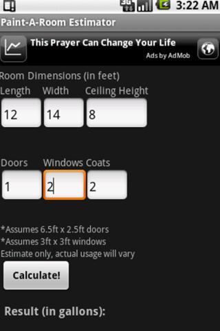 Paint-A-Room Estimator