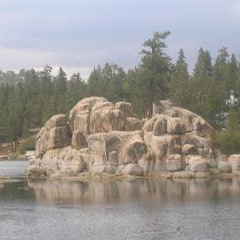 Big Bear Lake by Linda McCormick - Landscapes Caves & Formations ( california, serenity, reflections, rocks by the lake, big bear lake )