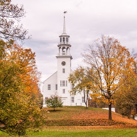 New England in the Fall by Sheldon Anderson - Buildings & Architecture Places of Worship ( orange, red, church, fall colors, new england, fall, scenic )