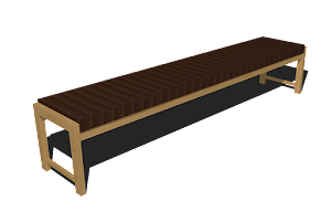 3D Image of an Upholstered Bench