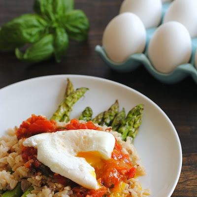 Wild Rice with Asparagus, Marinara and Poached Egg