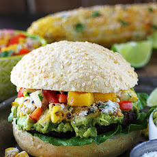 Guacamole Burgers with Roasted Corn & Mango Red Pepper Salsa