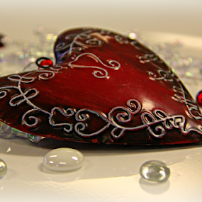 My Heart Belongs to You by Freda Nichols - Artistic Objects Still Life ( red, heart, ornament, glass, snowflakes, white, crystal, pwc87,  )