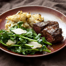 Flank Steak au Jus with Creamy Dijon Cauliflower, Pickled Baby Turnips & Watercress