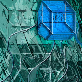 The 4th DimenSioN NighTmarE by Nick Higer - Illustration Sci Fi & Fantasy ( math, icy, blue, ice, fiction, geometric, sci fi, biology, geometry, shapes, science )