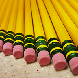 Yellow #2 by Ian Sell - Artistic Objects Education Objects ( eraser, #2, utensil, align, writing, diagonal, yellow, pencils )