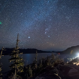Lights in the Night by Allan Colton - Landscapes Starscapes ( night photography, stars, train, landscape photography, landscape, nightscapes, milky way, nightscape )