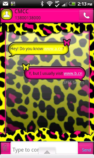 GO SMS THEME NeonLeopard2
