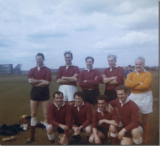 Back row; Ronnie Lambert, Colin Neal, Dave Cromarty, John Smith. Front Row; Ray Clish, Frank Pickering, Lawrie Cummings and George Nixon, Tom Baxter