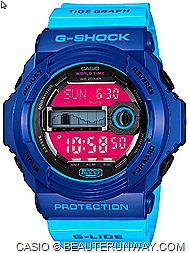 CASIO G-SHOCK G-LIDE 2012 SPRING SUMMER WATCHES GLX150  GWX8900B SURF TIDAL GRAPH WAVES FALL WINTER tide moon data graph contrasting LCD for the convenient tracking high low tides 200M water resistance.