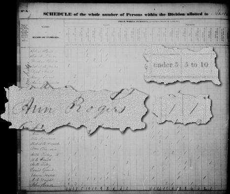 Ann Rogers在1830年的人口普查中