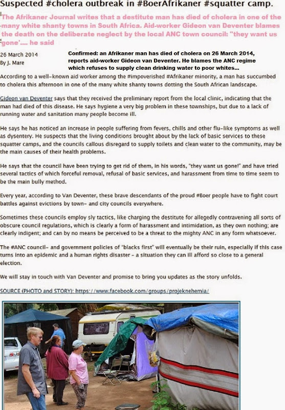 CholeraDeathInBoerAfrikanerSquatterCampANCcouncilBlamedMar272014