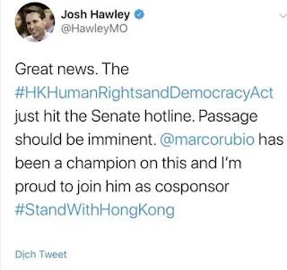 Mỹ sẽ can thiệp để bảo vệ người dân Hồng Kông kịp thời