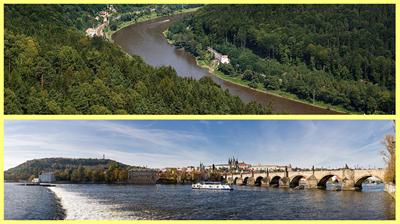 Arriba: rio Elba; Abajo: rio Moldava