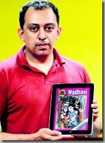 B.S RaghuRam With the 1st Issue of Indya Comics in IPod